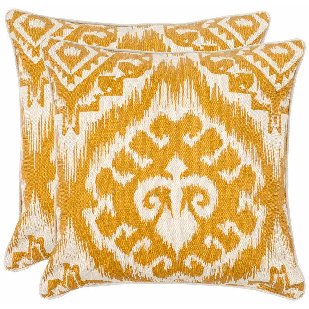 Amiri Saffron Floral Down Alternative 18 in. x 18 in. Throw Pillow (Set of 2)