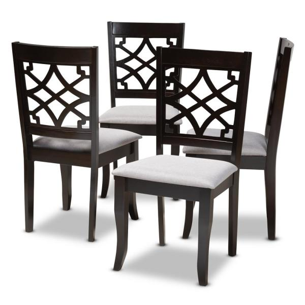 Mael Gray and Espresso Fabric Dining Chair (Set of 4)