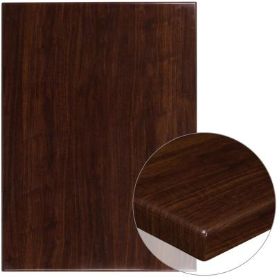 30 in. x 42 in. High-Gloss Walnut Resin Table Top with 2 in. Thick Drop-Lip