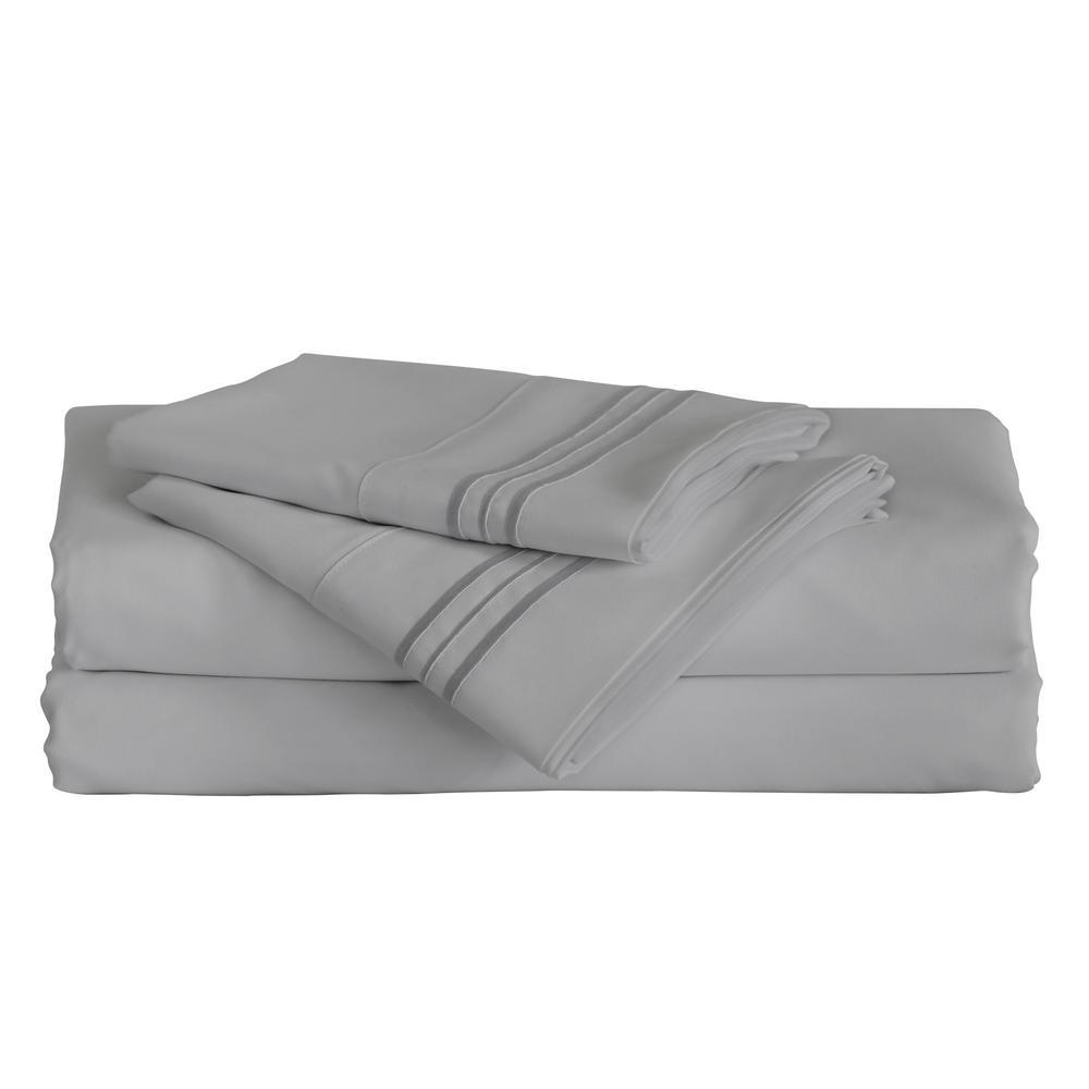 Angeland Vienne 4-Piece Grey Microfiber King Sheet Set FB1703GYK