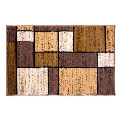 Contemporary Geometric Boxes Brown Indoor Area Rug 2 ft. x 3 ft.
