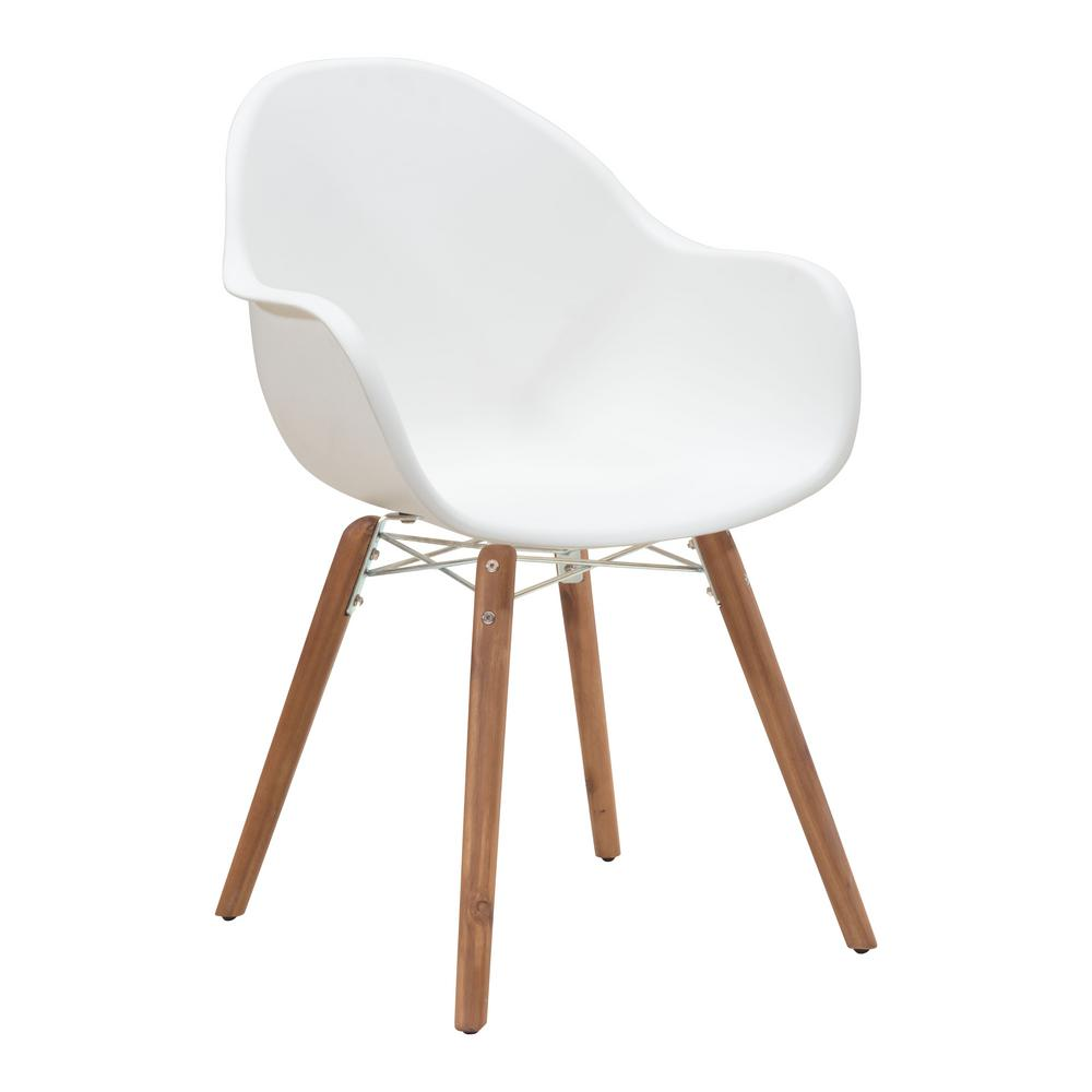 Zuo Tidal Patio Dining Chair In White Pack Of 4