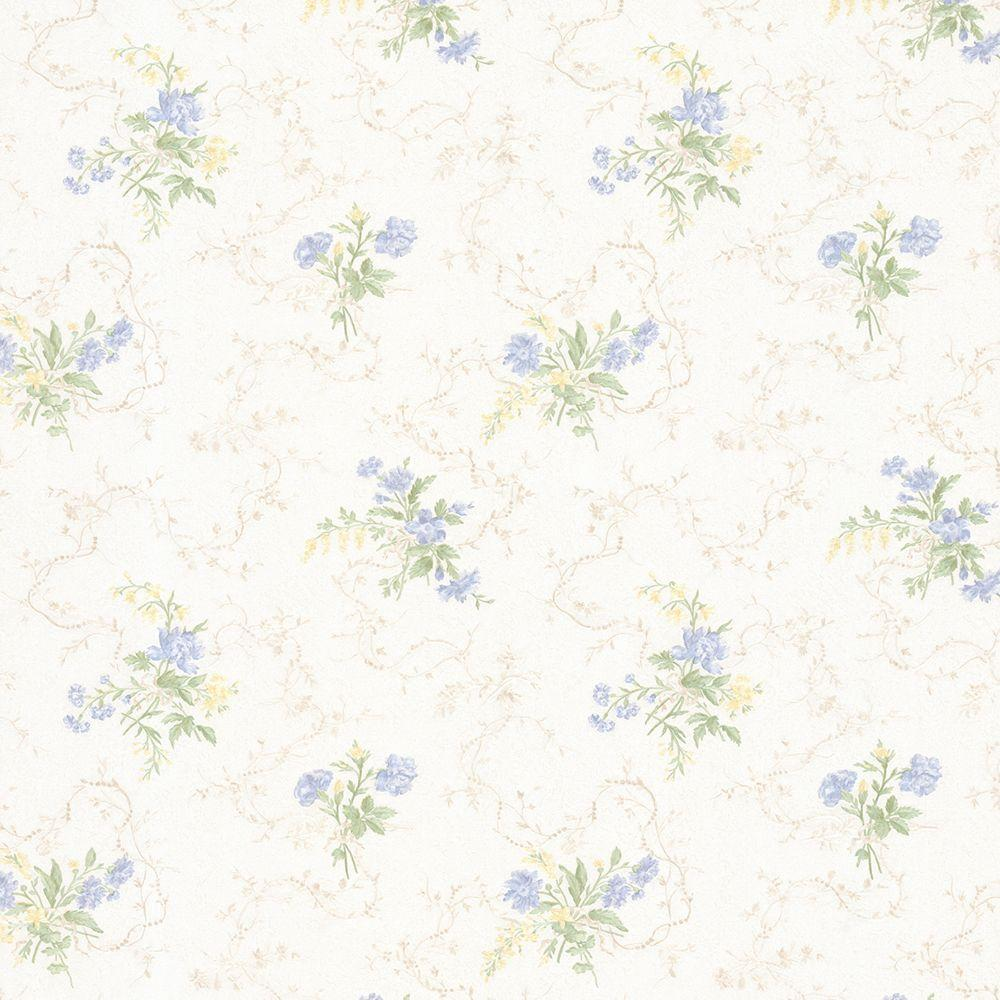 Mirage Marie Light Blue Delicate Floral Bouquet Wallpaper 992