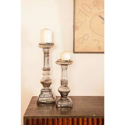 Clear Glass Baluster Design Candle Holders (Set of 3)