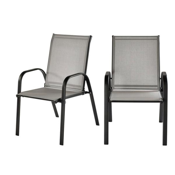 Mix and Match Black Steel Sling Outdoor Patio Dining Chair in Wet Cement (2-Pack)