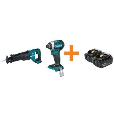 18-Volt Lithium-Ion Brushless Reciprocating Saw and 1/4 in. Impact Driver (Tool-Only)