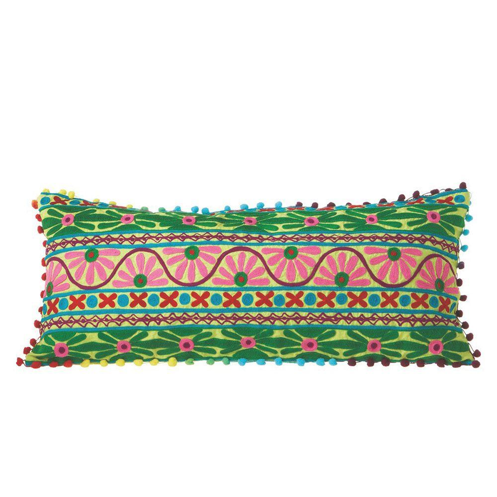 Filament Design Sundry Geometric Green Embroidered Accent Pillow-DISCONTINUED