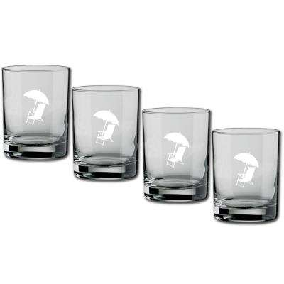 Kasualware Beach Chair 14 oz. Double Old Fashioned Glass (Set of 4)