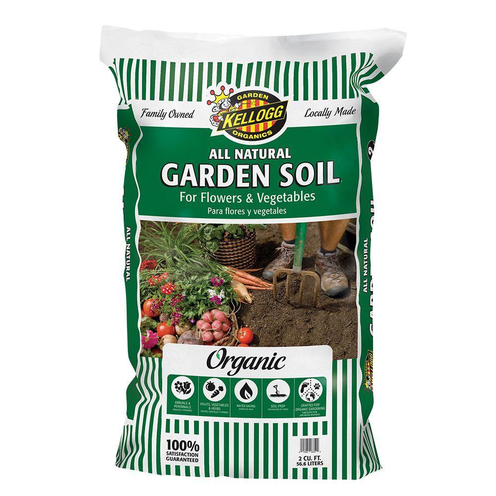 kellogg garden organics 2 cu ft all natural garden soil for flowers and vegetables - Garden Soil