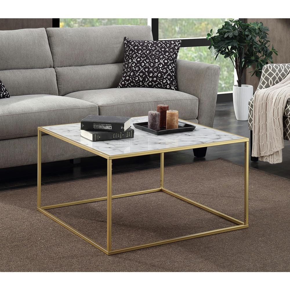 Convenience Concepts Gold Coast Faux Marble and Gold Coffee Table