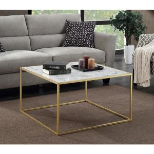 Internet #302768735. Convenience Concepts Gold Coast Faux Marble And Gold Coffee  Table