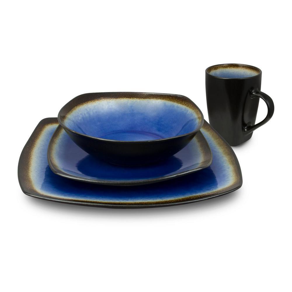 Haus 16-Piece Brown and Blue Dinnerware Set