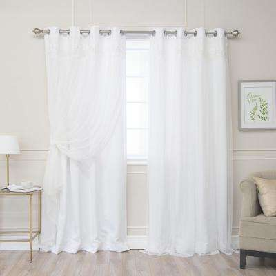 White 84 in. L Elis Lace Overlay Room Darkening Curtain Panel (2-Pack)