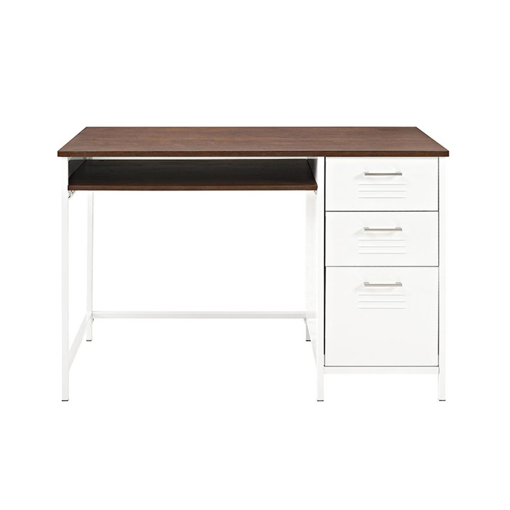 Walker edison furniture company locker style 48 in white for Metal desk with wood top