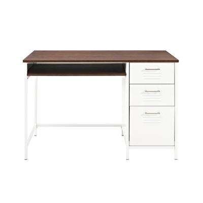Locker Style 48 in. White Metal Desk with Wood Top