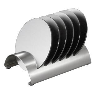 Click here to buy Visol Julian 4 inch Stainless Steel Round Coasters and Holder (6-Pack) by Visol.