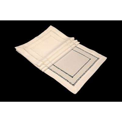 13 in. x 19 in. Handmade Double Hemstitch Easy Care Placemat in Ivory (4-Set)
