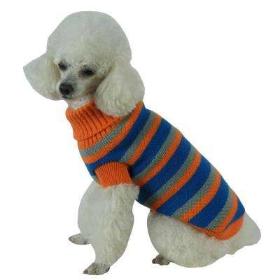 Medium Orange and Blue and Grey Heavy Cable Knit Striped Fashion Polo Dog Sweater