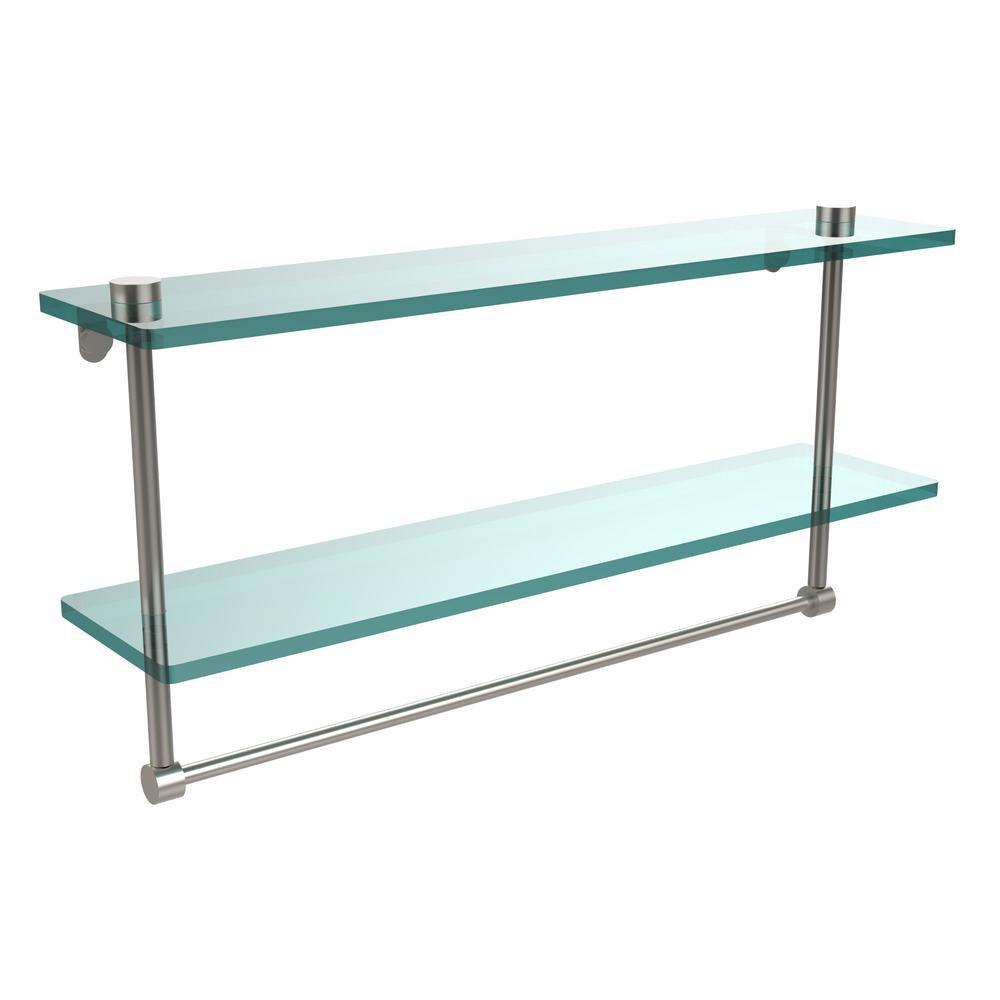 22 in. L  x 12 in. H  x 5 in. W 2-Tier Clear Glass Bathroom Shelf with Towel Bar in Satin Nickel