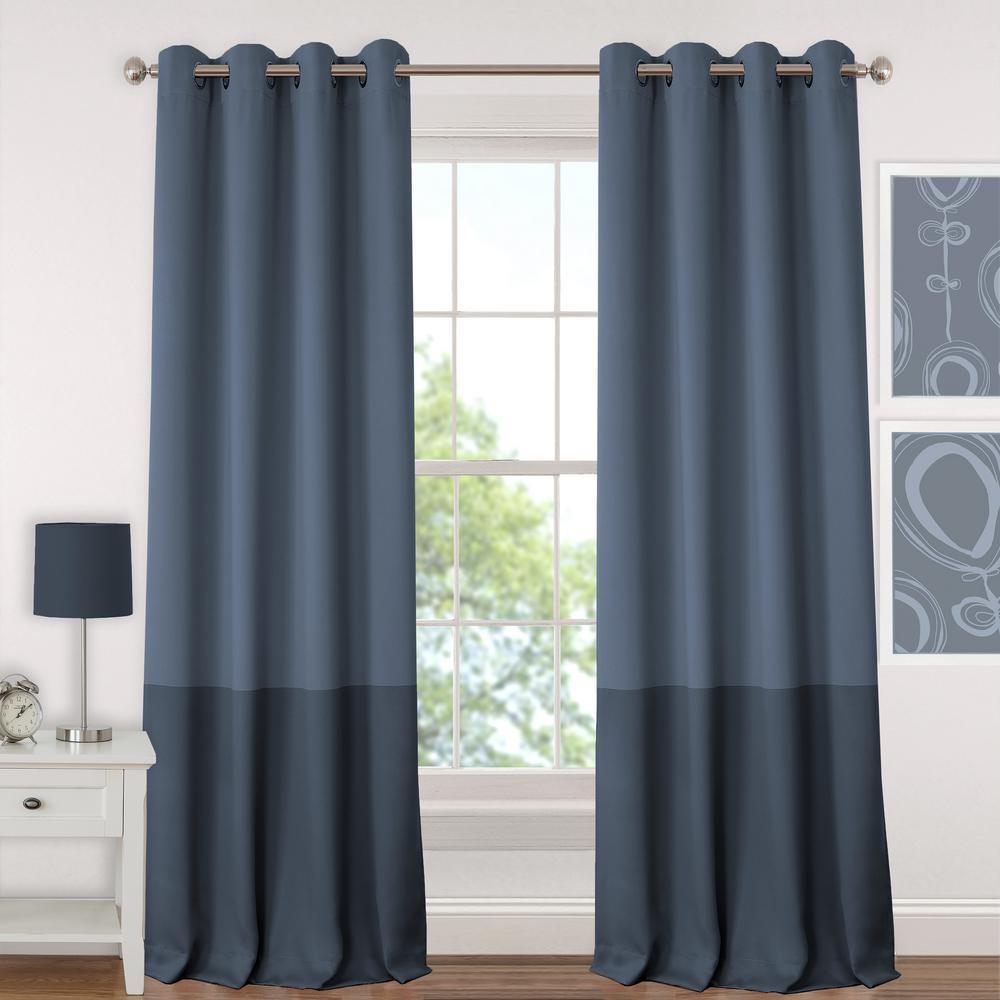 Blackout Navy Juvenile Teen or Tween Blackout Room Darkening Grommet Window Curtain Panel - 52 inch W x 84 inch L by