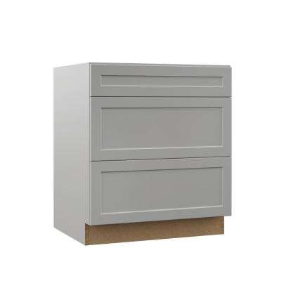 Melvern Assembled 30x34.5x23.75 in. Pots and Pans Drawer Base Kitchen Cabinet in Heron Gray
