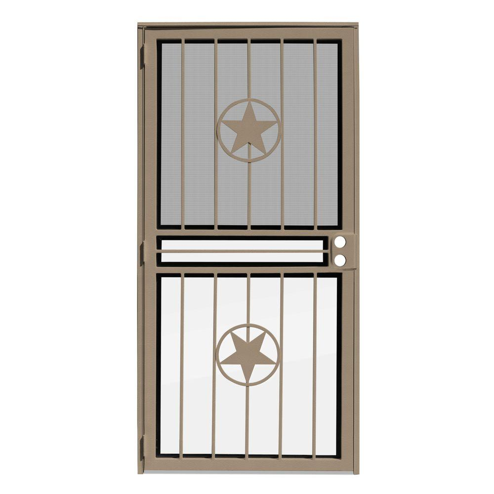 Unique Home Designs 36 In X 80 In Lone Star Tan Recessed Mount All Season Security Door With
