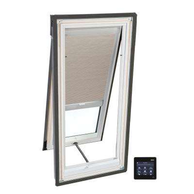 21 in. x 45-3/4 in. Venting Deck-Mount Skylight with Laminated Low-E3 Glass and Beige Solar Powered Room Darkening Blind