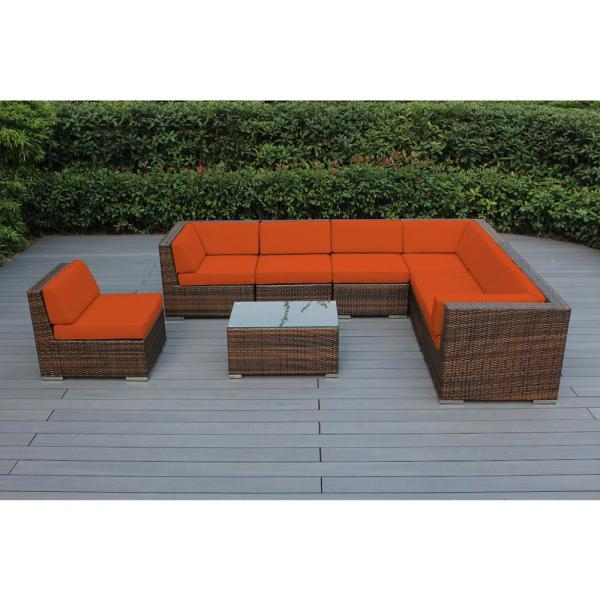 Mixed Brown 8-Piece Wicker Patio Seating Set with Supercrylic Orange Cushions
