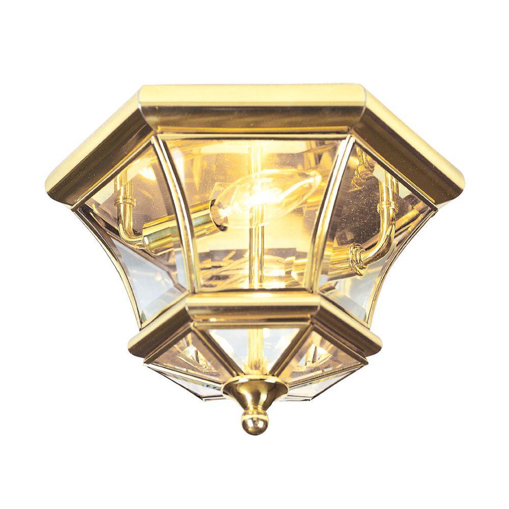 Providence 2-Light 10.5 in. Polished Brass Clear Beveled Glass Flushmount