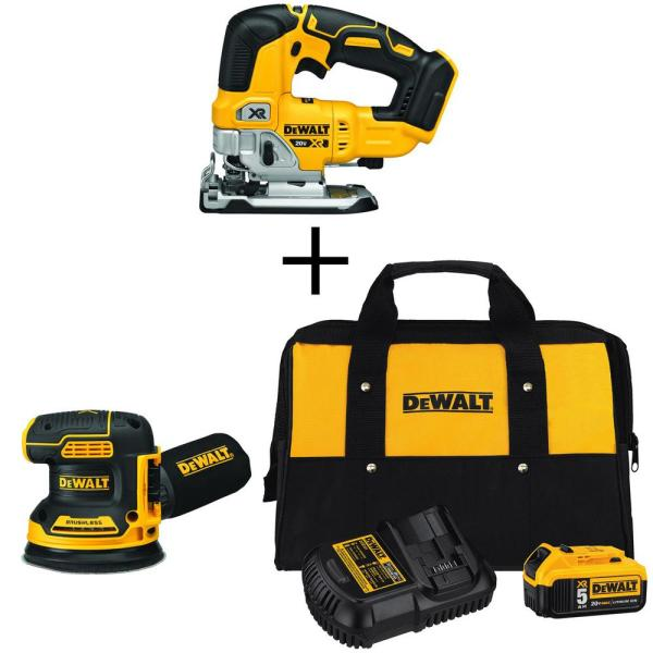 20-Volt MAX Li-Ion Cordless Brushless Jigsaw (Tool-Only) with 5 in. Sander (Tool-Only), Battery 5 Ah, Charger and Bag