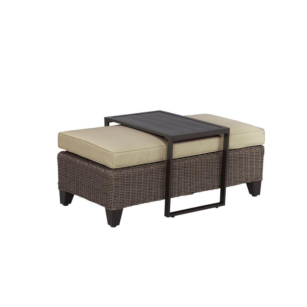 Brown Jordan Vineyard Patio Ottoman/Coffee Table With Meadow Cushion     STOCK