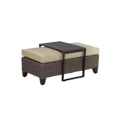 Vineyard Patio Ottoman/Coffee Table with Meadow Cushion -- STOCK