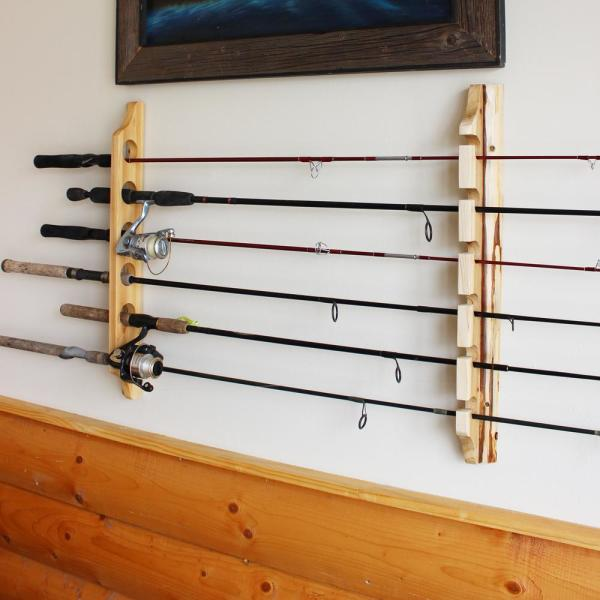 Rush Creek Creations 2 Piece 6 Fishing Rod Storage Wall Mount Rack Easy Installation 37 0019 The Home Depot