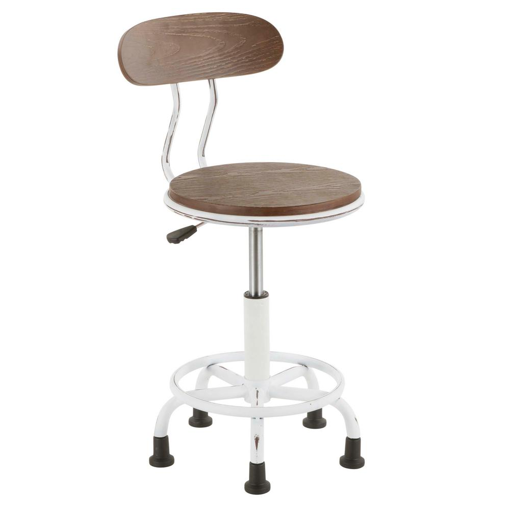 Lumisource Dakota Vintage White Metal And Espresso Wood Task Chair