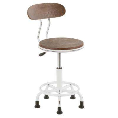 Dakota Vintage White Metal and Espresso Wood Task Chair