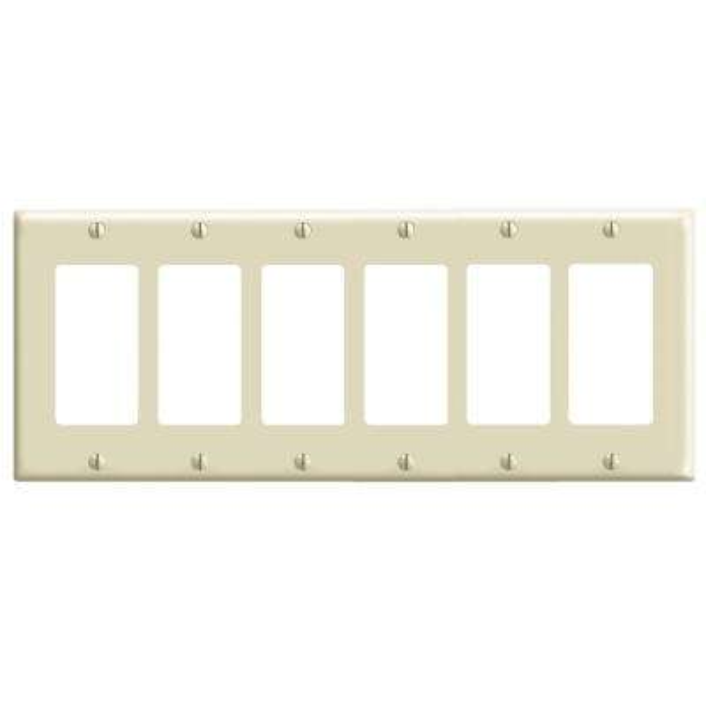 6-Gang Decora Switch Wall Plate, Ivory