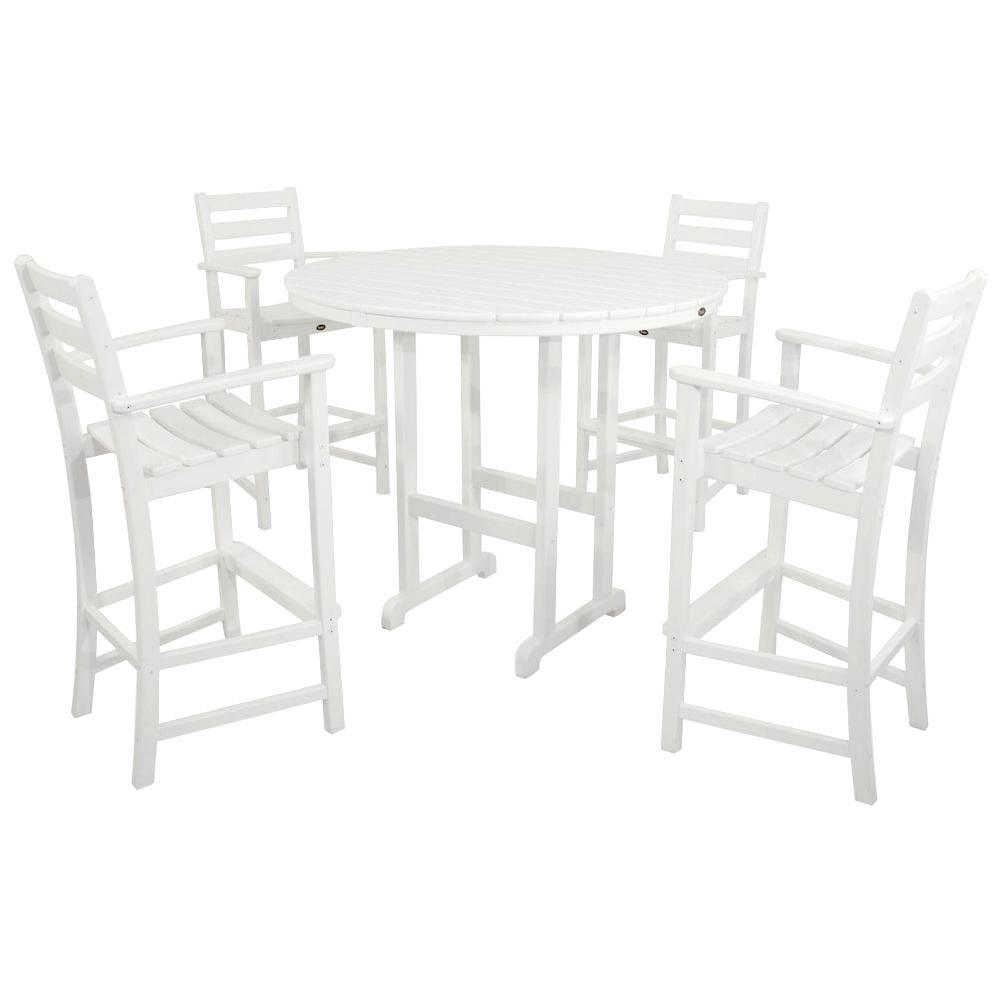 Monterey Bay Classic White 5-Piece Patio Bar Set