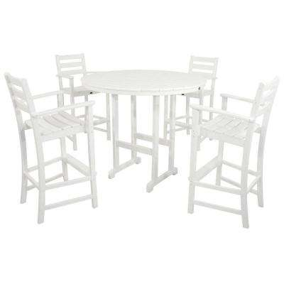 Monterey Bay Classic White 5-Piece Plastic Outdoor Patio Bar Height Dining Set