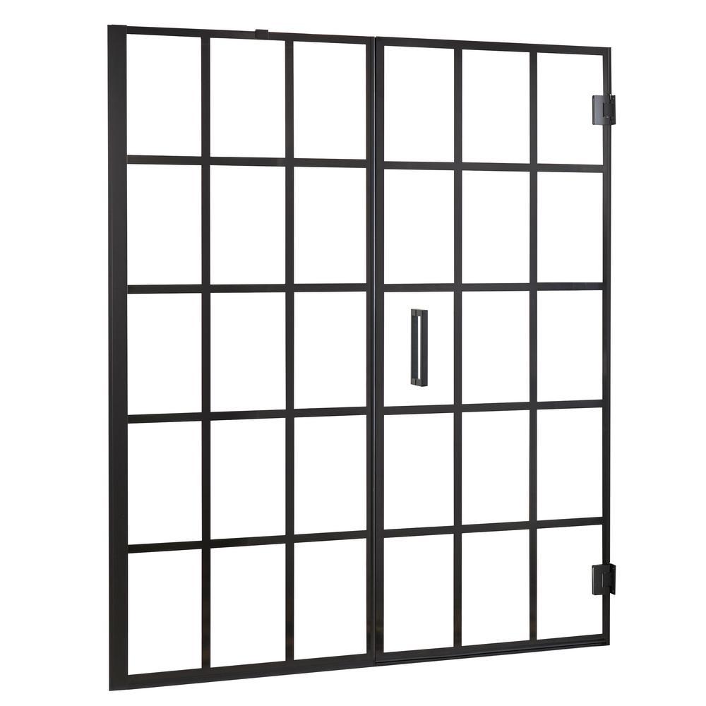 Marina Gridiron 48 in. W x 72 in. H Frameless Pivot Door and Panel Shower Door in Matte Black