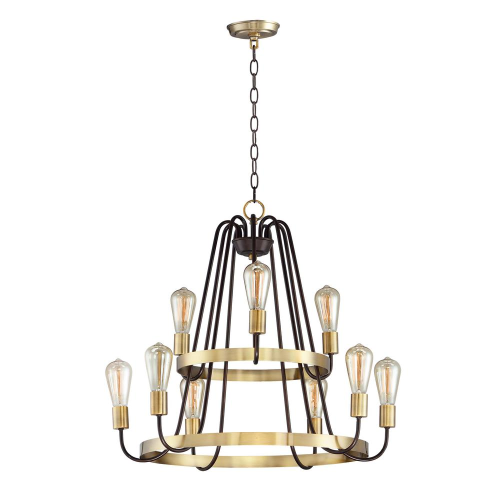 Maxim Lighting Haven 9-Light Oil Rubbed Bronze / Antique Brass Chandelier