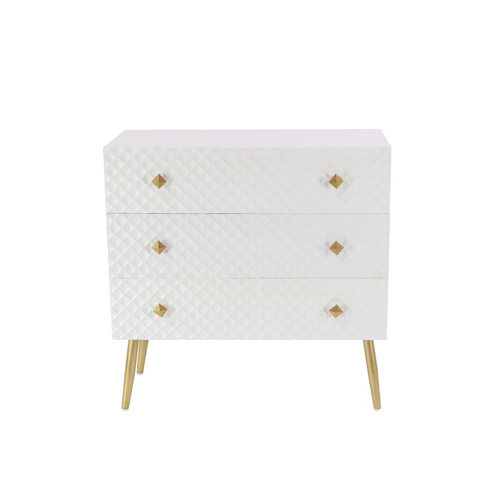 White Diamond-Patterned 3-Drawer Chest with Gold Accents