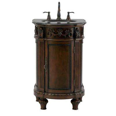 Chelsea 22 in. W Bath Vanity in Antique Cherry with Granite Vanity Top in Black