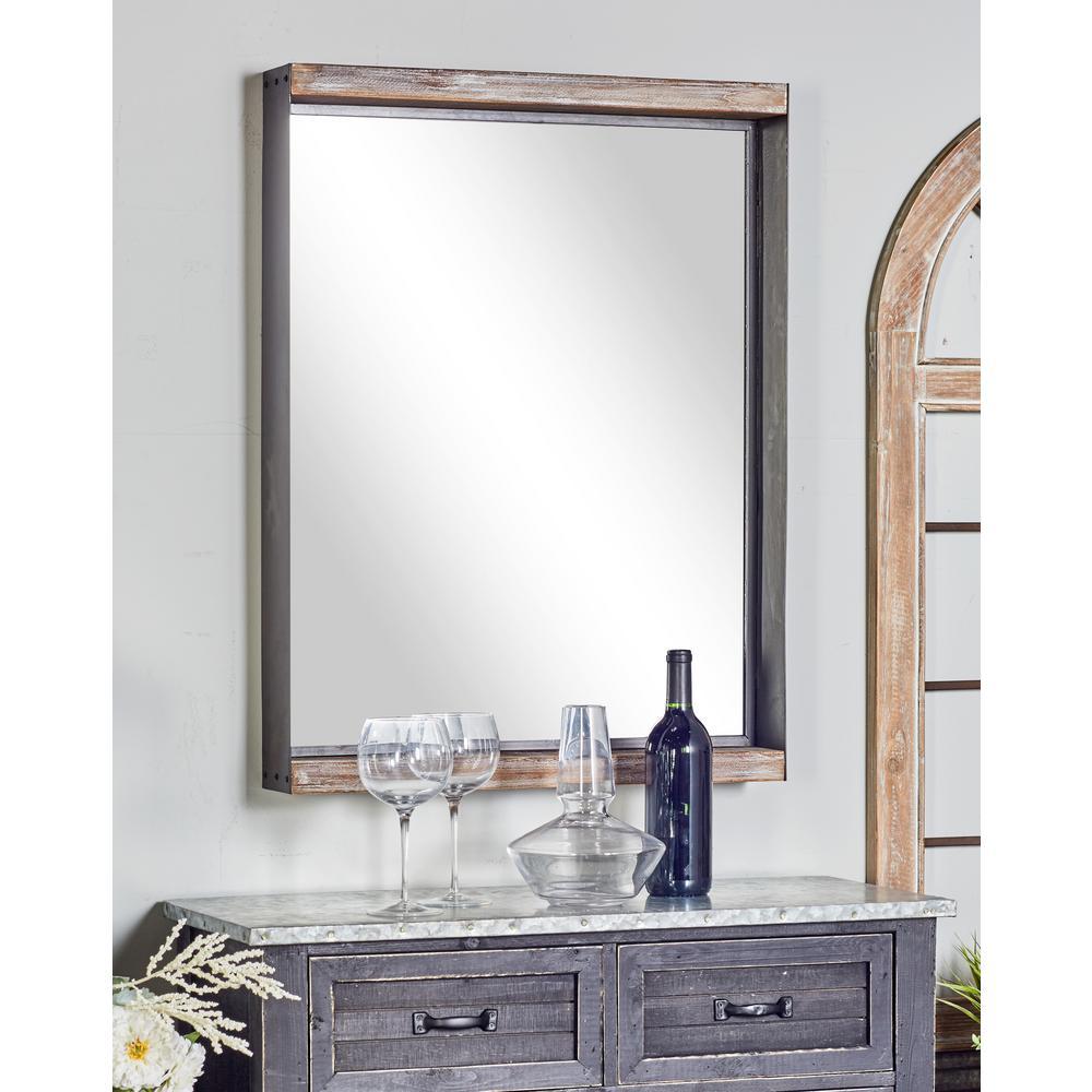 Rectangular Brown Dresser Wall Mirror Set
