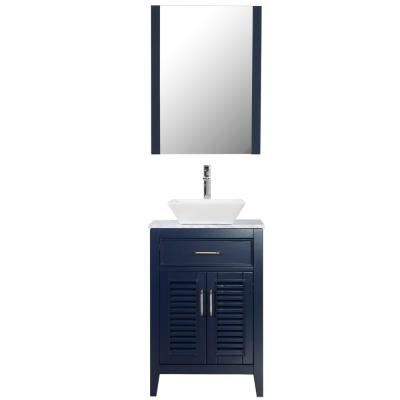 Marina Del Rey 24 in. W x 18 in. D Vanity in Navy with Marble Top White Ceramic Basin and Mirror