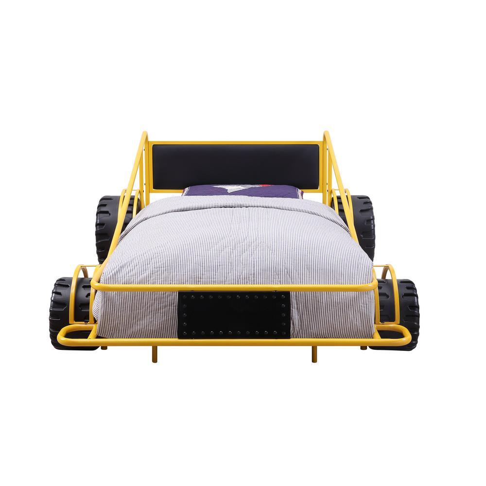 Acme Furniture Taban Yellow and Black PU Twin Bed 38085T