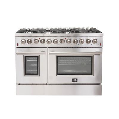 Galiano 48 in. Freestanding Pro Gas Range with 8 Sealed Burners and Double Electric 240-Volt Oven in Stainless Steel