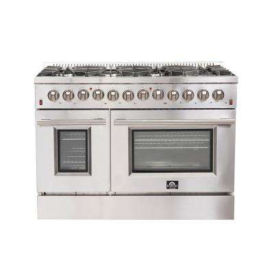 48 in. Galiano Gold Professional Freestanding Dual Fuel Range with 8 Sealed Burners, 6.58 cu. ft. Total Convection Oven
