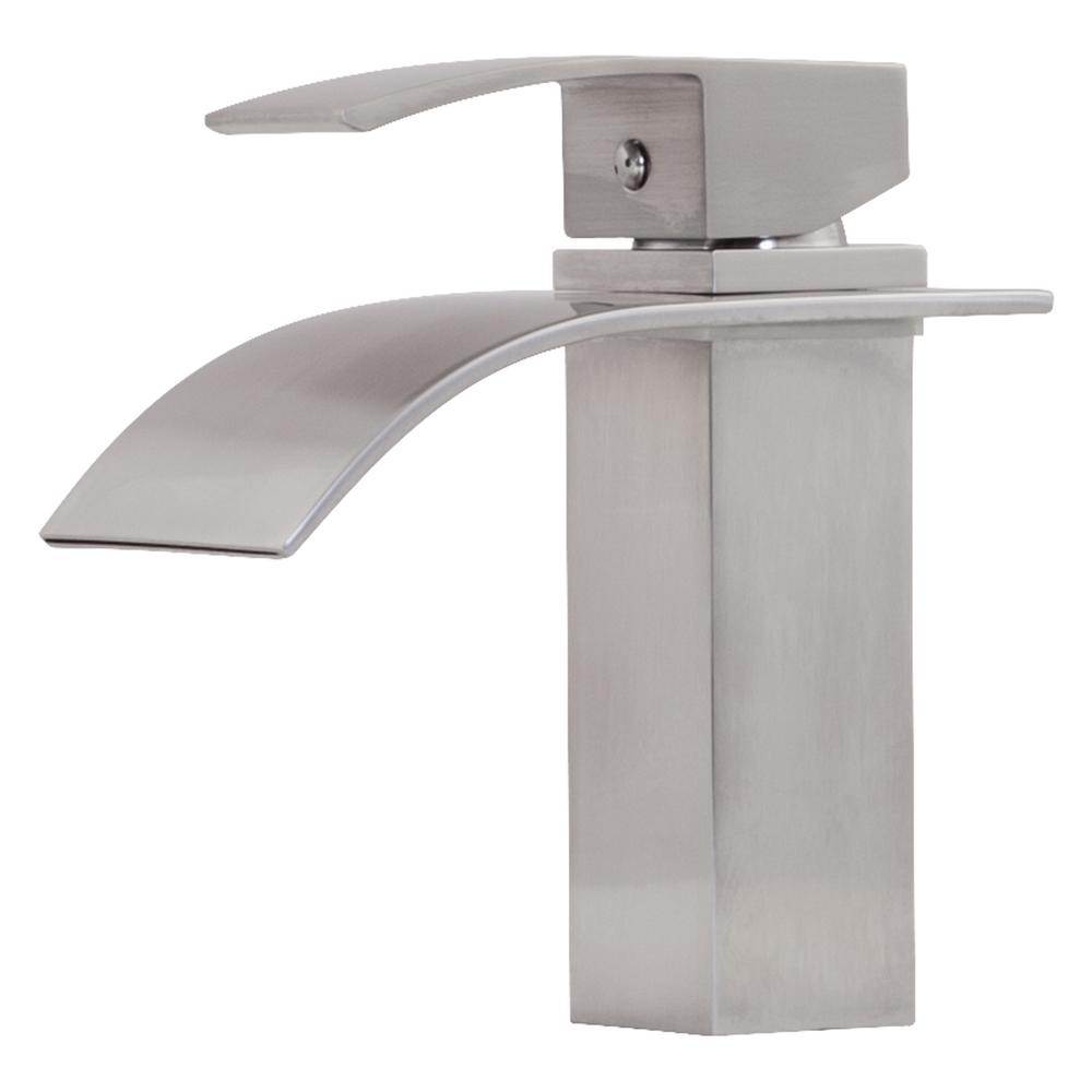 Novatto Remi Single Hole Single-Handle Lav Bathroom Faucet with Waterfall Spout in Brushed Nickel