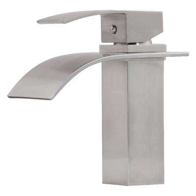 Remi Single Hole Single-Handle Lav Bathroom Faucet with Waterfall Spout in Brushed Nickel