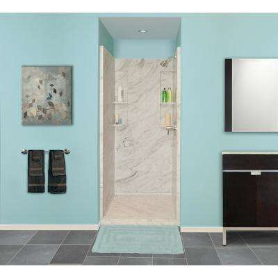 36 in. x 36 in. x 80 in. 3-Piece Direct-to-Stud Alcove Shower Wall Set in White Carrara